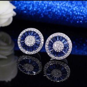 Ladies .925 Sterling Silver Sapphire Earrings !